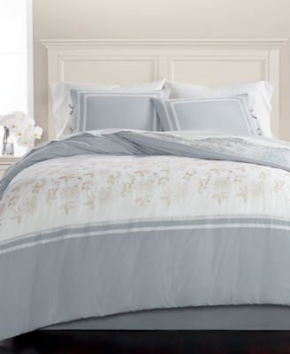 CLOSEOUT! Embroidered Floral Reversible Cotton 8-Pc. Queen Comforter Set, Created for Macy's