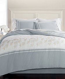 CLOSEOUT! Martha Stewart Collection Embroidered Floral Reversible Cotton 8-Pc. Queen Comforter Set, Created for Macy's