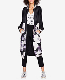 RACHEL Rachel Roy Floral-Print Duster Bomber Jacket, Created for Macy's