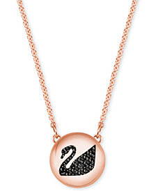 Swarovski Rose Gold-Tone Jet Crystal Swan Disc Pendant Necklace