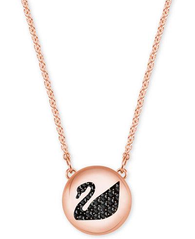 Swarovski Rose Gold-Tone Jet Crystal Swan Disc Pendant Necklace