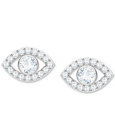 Swarovski Silver-Tone Crystal Eye Stud Earrings