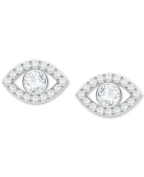 6173ac5be Swarovski Silver-Tone Crystal Eye Stud Earrings & Reviews - Fashion ...