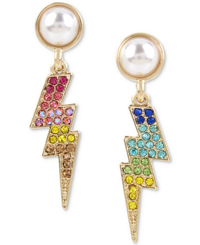 Betsey Johnson Gold-Tone Multicolor Pavé & Imitation Pearl Lightning Drop Earrings