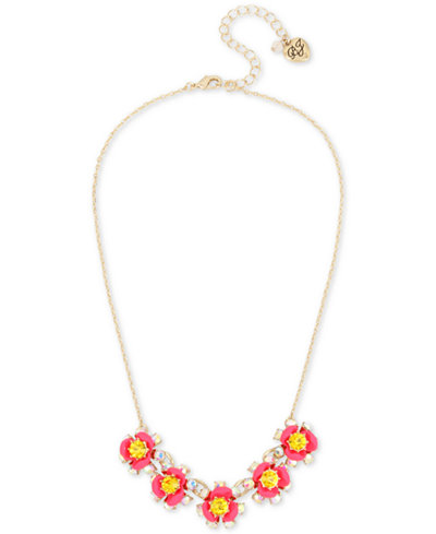 Betsey Johnson Gold-Tone Crystal Floral Statement Necklace, 15