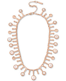 "Kenneth Cole New York Rose Gold-Tone Pink Stone & Imitation Pearl Collar Necklace, 15"" + 3"" extender"