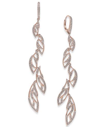 Danori Rose Gold-Tone Pavé Vine Drop Earrings, Created for Macy's