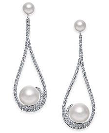 Danori Silver-Tone Cubic Zirconia & Imitation Pearl Open Drop Earrings, Created for Macy's
