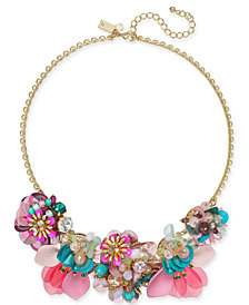 """kate spade new york necklace Gold-Tone Flower Statement Necklace, 17"""" + 3"""" extender"""