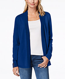 Charter Club Petite Button-Detail Open-Front Cardigan, Created for Macy's