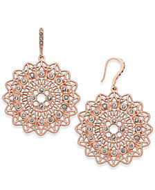 I.N.C. Rose Gold-Tone Pavé Filigree Drop Earrings, Created for Macy's