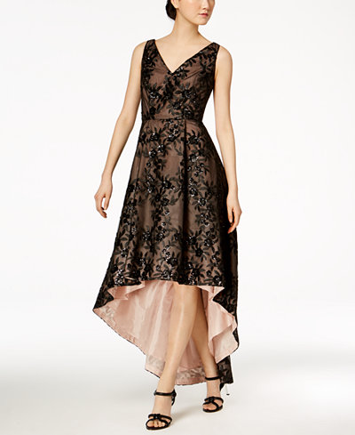 Calvin Klein Floral Sequined High-Low Gown