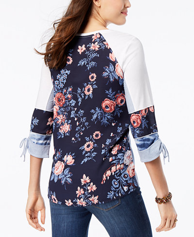 Style & Co Mixed-Print Top, Created for Macy's
