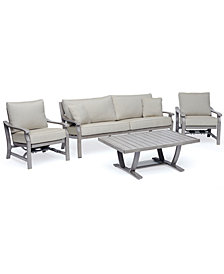Tara Aluminum Outdoor 4-Pc. Seating Set (1 Sofa, 2 Inside Rocker Chairs & 1 Coffee Table), Created for Macy's