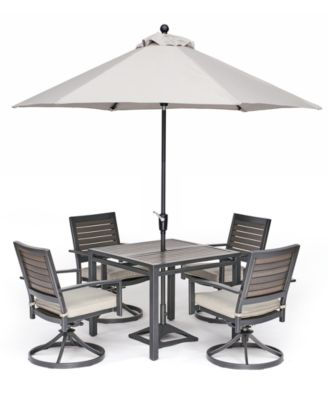 "Marlough II Outdoor Aluminum 5-Pc. Dining Set (36"" Square Dining Table and 4 Swivel Rockers) with Sunbrella Cushions, Created for Macy's"