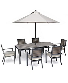 "Marlough II Outdoor Aluminum 7-Pc. Dining Set (84"" x 42"" Dining Table and 6 Dining Chairs) with Sunbrella Cushions, Created for Macy's"