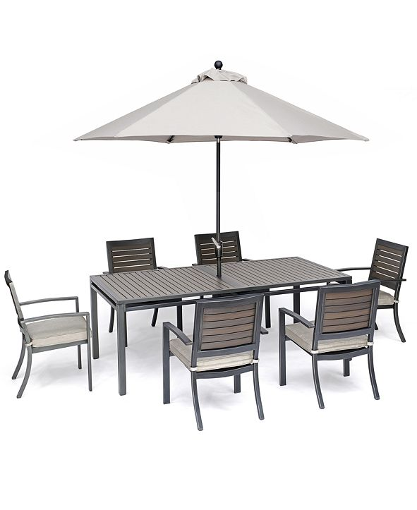"Furniture Marlough II Outdoor Aluminum 7-Pc. Dining Set (84"" x 42"" Dining Table and 6 Dining Chairs) with Sunbrella Cushions, Created for Macy's"