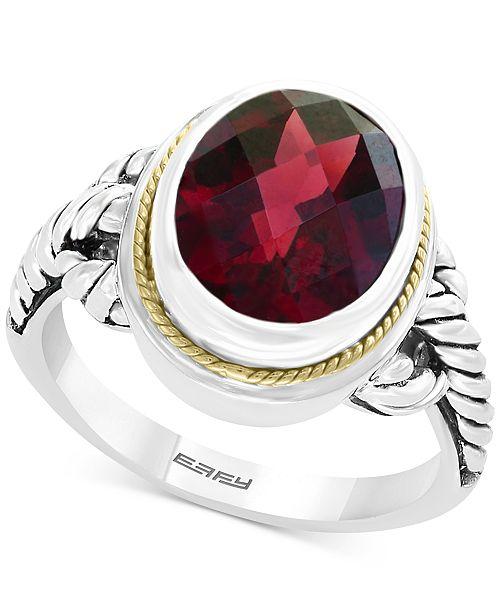 EFFY Collection EFFY® Garnet Ring (3-9/10 ct. t.w.) in Sterling Silver & 18k Gold
