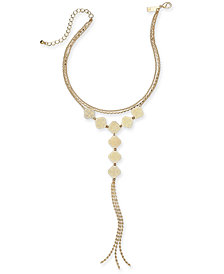 "I.N.C. Gold-Tone Multi-Chain Filigree Lariat Choker Necklace, 12"" + 3"" extender, Created for Macy's"