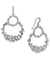 I.N.C. Silver-Tone Crystal Double Loop Drop Earrings, Created for Macy's