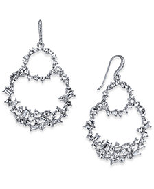 I.N.C. Silver-Tone Crystal Double Loop Drop Earrings, Created for Macy's