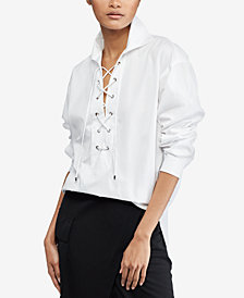 Polo Ralph Lauren Broadcloth Lace-Up Cotton Shirt