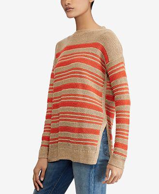 Polo Ralph Lauren Striped Linen Sweater Sweaters Women Macys