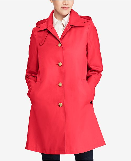 07841609033 ... Lauren Ralph Lauren Hooded Single-Breasted A-Line Raincoat