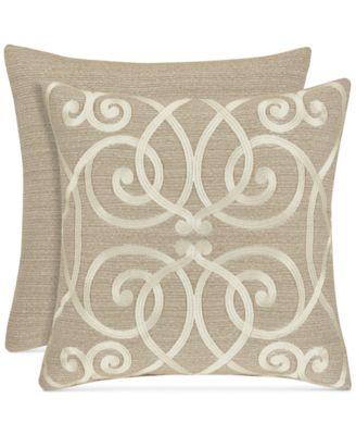 "Romano Ice Taupe 18"" Embroidered Square Decorative Pillow"