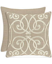 """J Queen New York Romano Ice Taupe 18"""" Embroidered Square Decorative Pillow"""