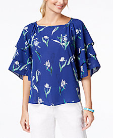 Charter Club Floral-Print Tiered-Sleeve Top, Created for Macy's