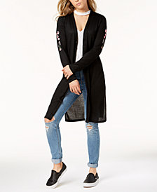 One Hart Juniors' Embroidered Long Cardigan, Created for Macy's