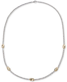 "Giani Bernini Two-Tone Beaded 18"" Station Necklace in Sterling Silver & 18k Gold-Plate, Created for Macy's"