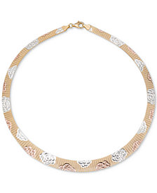 "Giani Bernini Tri-Color Rosette Graduated 17"" Collar Necklace, Created for Macy's"