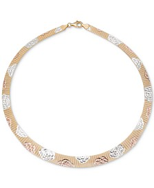 "Giani Bernini Tri-Color Rosette Graduated 17"" Collar Necklace, Created for Macy's"