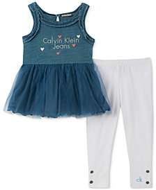 Calvin Klein 2-Pc. Denim & Tulle Tunic & Leggings Set, Baby Girls