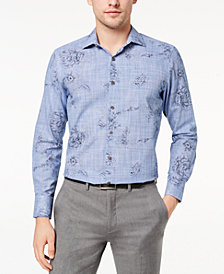 Tallia Men's Slim-Fit Blue Ink Sketch Floral-Print Dress Shirt