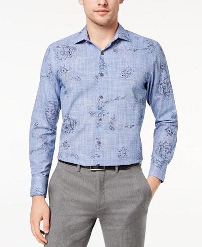 Tallia Men's Slim-Fit Blue Ink Sketch Floral-Print Dress Shirt