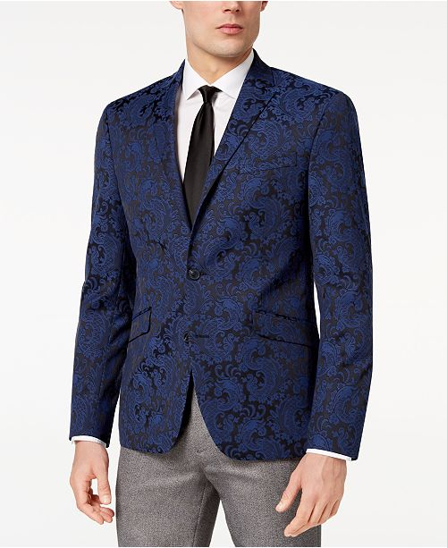 Kenneth Cole Reaction Men's Slim-Fit Stretch Paisley Dinner Jacket, Online Only