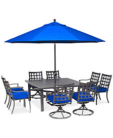 "CLOSEOUT! Highland Blue Aluminum Outdoor 9-Pc. Dining Set (64"" Square Dining Table, 4 Dining Chairs and 4 Swivel Rockers) with Sunbrella® Cushions, Created for Macy's"