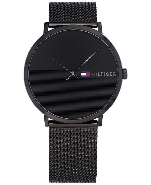 20f8b1ac3 ... Tommy Hilfiger Men's Black Mesh Bracelet Watch 40mm, Created for Macy's  ...