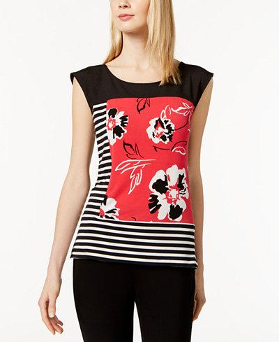 Calvin Klein Mixed-Print Top