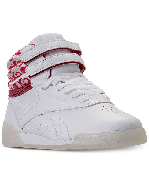6c54f68e5ca68 ... Reebok Big Girls  Freestyle High Top Hearts Casual Sneakers from Finish  ...
