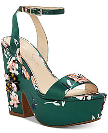 Jessica Simpson Carena Satin Sculpted Wedge Sandals
