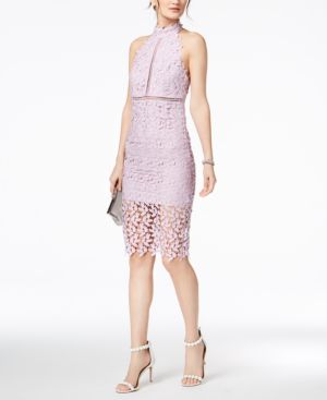 BARDOT Gemma Sleeveless Halter Lace-Guipure Cocktail Dress in Lilac Mist