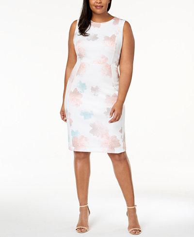 Calvin Klein Plus Size Floral-Print Scuba Dress