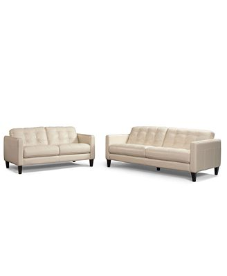 Milan 2-Piece Leather Sofa Set: Sofa And Love Seat - Furniture