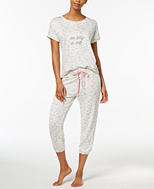 Jenni by Jennifer Moore Printed Cropped Pajama Top & Jogger Pants Sleep Separates, Created for Macy's
