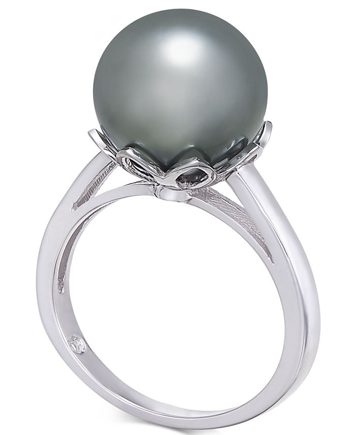 Macy's - Cultured Tahitian Black Pearl (10mm) Ring in 14k White Gold