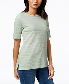 Charter Club Cotton Textured-Stripe Top, Created for Macy's